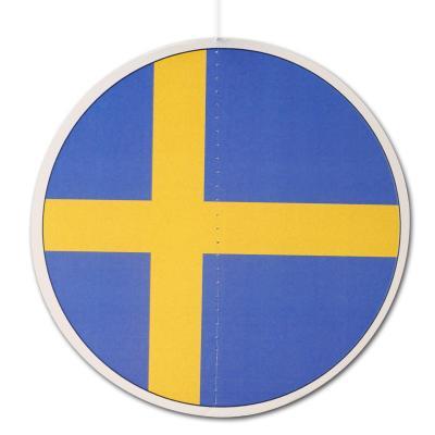 Runder Dekohänger im Schweden Fahne Design mit gelbem Kreuz auf blauem Hintergrund.