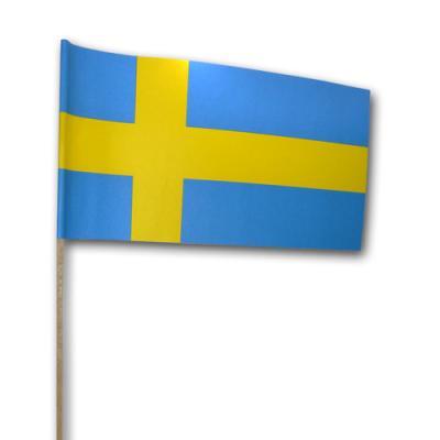 Qualitäts-Fähnchen Schweden am dekorativen Holzstab.