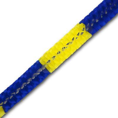 Partydeko Minigirlande blau-gelb aus schwer entflammbarem Papier.