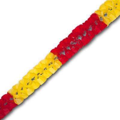 Minigirlande rot-gelb aus Papier für eine farbenfrohe Mottoparty oder eine Spanien Länderdekoration.