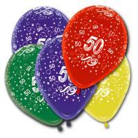5 Zahlenballons 50 in unterschiedlichen Farben, für die...