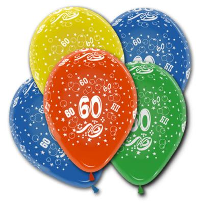5 farbige Luftballons mit Zahl 60 Motiven für die bunte Geburtstagsdeko.