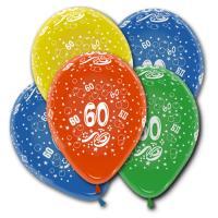 5 farbige Luftballons mit Zahl 60 Motiven für die bunte...