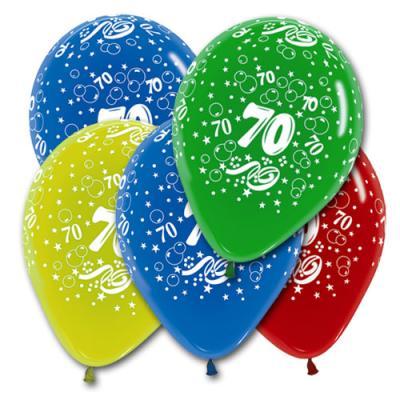 5 farbige Luftballons mit Zahl 50 Motiven, für eine bunte Geburtstagsdeko zum Jubiläum.