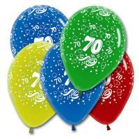 5 farbige Luftballons mit Zahl 50 Motiven, für eine bunte...