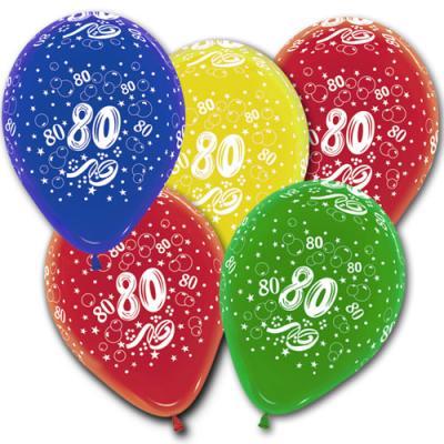 5 bunte Luftballons mit Zahl 80 Motiven für eine farbenfrohe Jubiläums Geburtstagsdekoration.
