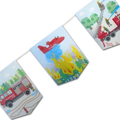 1 Partykette mit passenden Motiven für die Kindergeburtstag Mottoparty Feuerwehr.