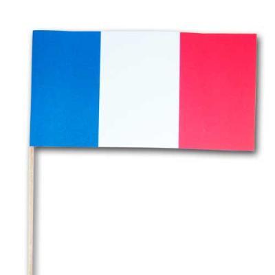 Qualitäts-Fähnchen mit Frankreich Flaggen am Holzstab.
