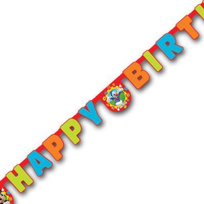 Bunte Partygirlande für den Kindergeburtstag Mickey Mouse mit HAPPY BIRTHDAY Schriftzug und Mickey Mouse Motiven.
