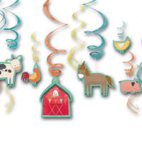 12 Dekospiralen mit Bauernhof Motiven (6 Motive: Kuh,...