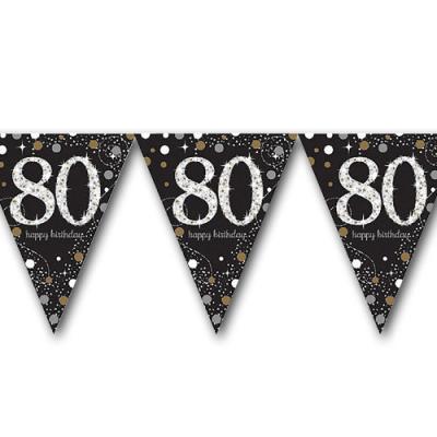 Edle Wimpelkette schwarz mit silber glänzendem 80er und Happy Birthday Aufdruck.