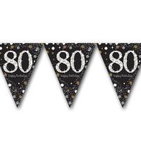 Edle Wimpelkette schwarz mit silber glänzendem 80er und...