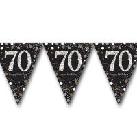 Edle Wimpelkette schwarz mit silber glänzendem 70er und...