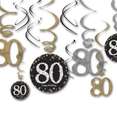 12 Dekospiralen in gold, schwarz und silber mit 80 und happy birthday Aufdruck für die 80er Geburtstagsdeko.