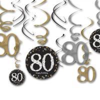 12 Dekospiralen in gold, schwarz und silber mit 80 und...