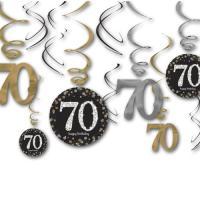 12 Dekospiralen in gold, schwarz und silber mit 70 und...