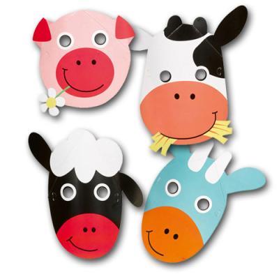 8 Partymasken Tiere für den Kindergeburtstag mit Partymotto Bauernhof.