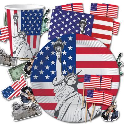 USA Partygeschirr Set mit USA Flaggen Motiven in den Länderfarben blau-weiß-rot.