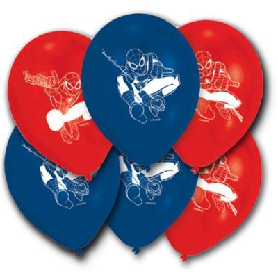 6 blaue und rote Kindergeburtstag Luftballons mit Spiderman Motiven.