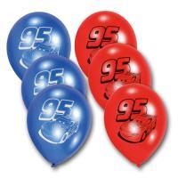 6 blaue und rote Kindergeburtstag Luftballons mit Cars...