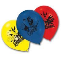 6 blaue, gelbe und rote Kindergeburtstag Luftballons mit...