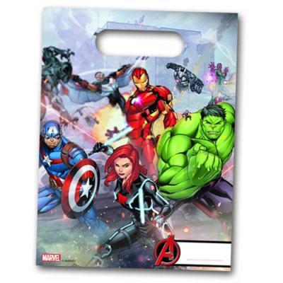 6 Partytaschen mit Avengers Motiven für die Mitgebsel zur Kindergeburtstag Mottoparty.