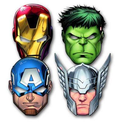 6 coole Partymasken aus Karton mit Motiven von Iron Man, Thor, Captain America und Hulk.