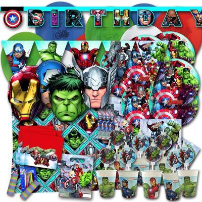 Kindergeburtstag Partyset für Partymotto Avengers mit Partydeko und Partygeschirr.