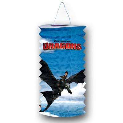 Zuglaterne zum Aufhängen mit Dragons Motiv für die Kindergeburtstag Mottoparty.