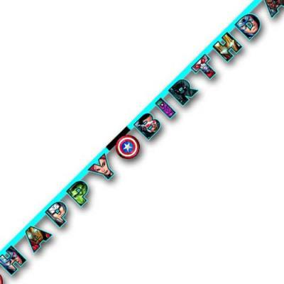 Buchstabengirlande Happy Birthday mit Avengers Motiven für die Glückwünsche zum Kindergeburtstag mit Mottoparty Avengers.