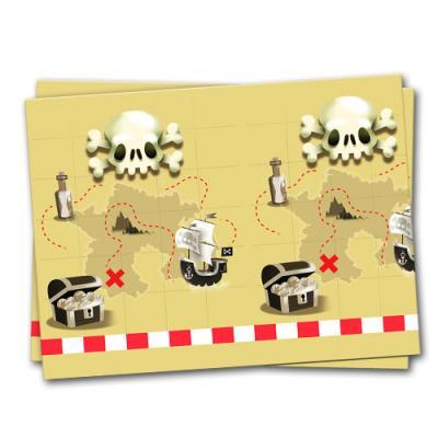 Plastik Tischtuch mit Schatzkarten Motiv für den Kindergeburtstag Piraten.