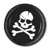Schwarze Pappteller mit weißem Piraten Flagge Motiv JOLLY...