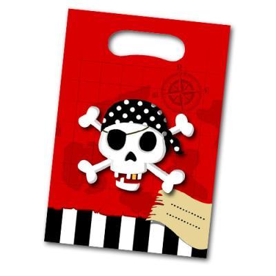 Kunststoff Partytaschen mit Piraten Motiven und Namensfeld für die Mitgebsel und Partygeschenke der Kindergeburtstag Mottoparty.