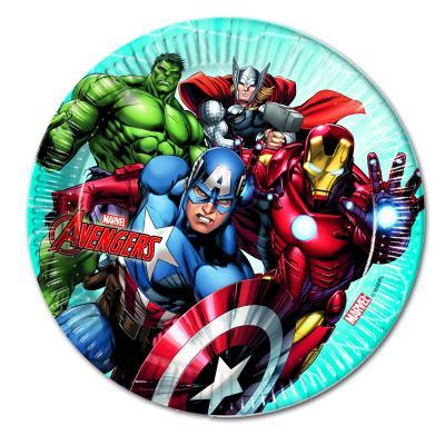 8 Pappteller mit bunten Avengers Motiven von Thor, Hulk, Captain America und Iron Man.