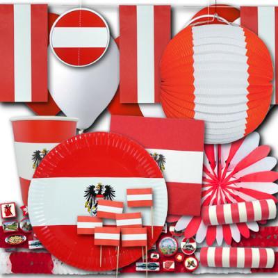 Umfangreiches Partydeko Set im Österreich Flagge Design mit Partydeko und Partygeschirr in rot-weiß-rot.