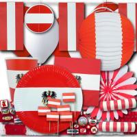 Umfangreiches Partydeko Set im Österreich Flagge Design...