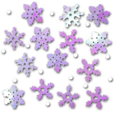 In verschiedenen Farben schimmernde Schneeflocken Konfetti für die winterliche Tischdekoration.