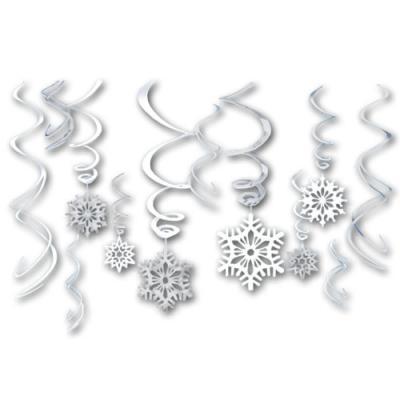 12 weiße und silberne Dekospiralen mit 6 Schneeflocken Dekohängern.