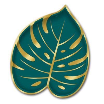 8 Pappteller im Design eines Palmblattes in gold und grün.