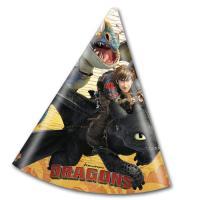 6 Partyhütchen Dragons für die Kindergeburtstag Mottoparty.