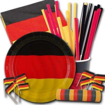 Partygeschirr Set mit Deutschland Flagge Motiv bestehend aus Papptellern, Pappbechern, Servietten, Flaggenpickern und Trinkhalmen.