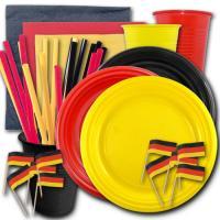Deutschland Länderdeko Partygeschirr-Set in schwarz-rot-gelb