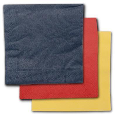 Schwarze, rote und gelbe Papierservietten im Sparset.
