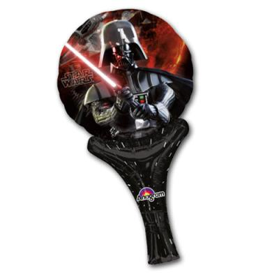 Schwarz-roter Folienballon mit Darth Vader und Laserschwert Motiv.