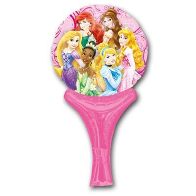 Rosa Motivluftballon mit 6 Disney Prinzessinnen und aufblasbarem Haltegriff.