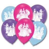 6 Luftballons in blau, rosa und violett mit weißen...