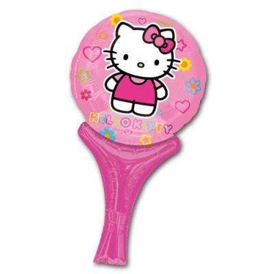 Rosa Folienballon mit Hello Kitty Motiv.