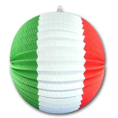 Lampion in den Flaggen Farben der Länder Italien und Mexiko - grün-weiß-rot.