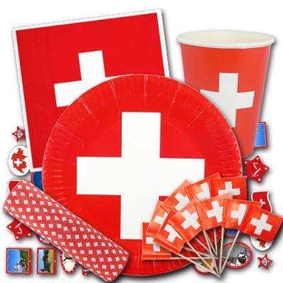 Partygeschirr Set mit Schweiz Flagge Motiv bestehend aus Papptellern, Pappbechern, Servietten, Flaggenpickern, Luftschlangen und Deko Motiven Schweiz.