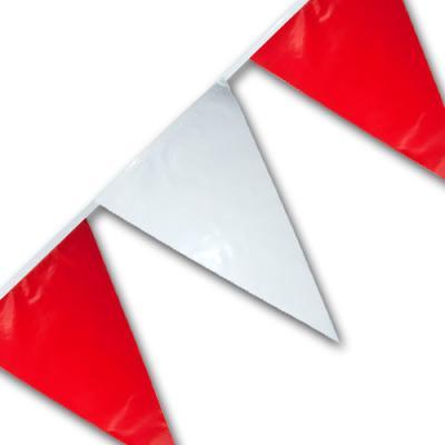 10 Meter Kunststoff Wimpelkette mit roten und weißen Wimpeln.